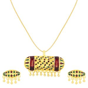 Shostopper Antique Gold Plated Meenakari Pendant Set ( Code - Sj4031psn450 )