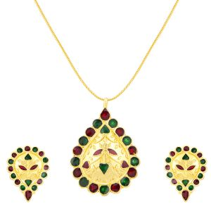 Shostopper Eye-catch Gold Plated Meenakari Pendant Set ( Code - Sj4033psn450 )