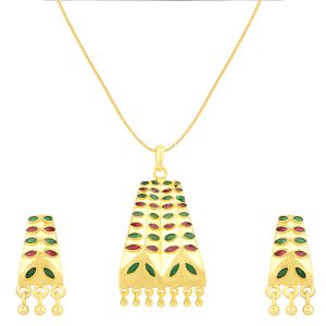 Shostopper Fashion Jewelery Gold Plated Meenakari Pendant Set ( Code - Sj4034psn350 )