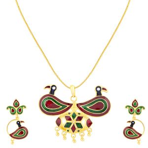 Shostopper Peacock Gold Plated Meenakari Pendant Set ( Code - Sj4035psn350 )