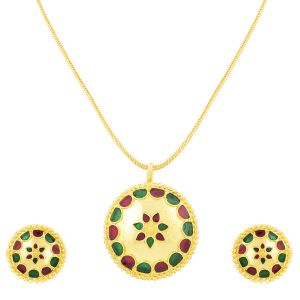 Shostopper Marvellous Gold Plated Meenakari Pendant Set ( Code - Sj4036psn350 )