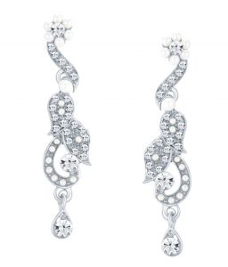Shostopper Fashionable Rhodium Plated Australian Diamond Earring