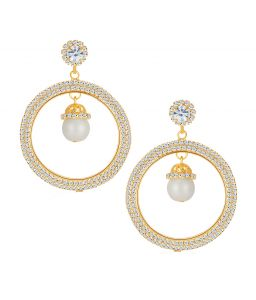 Shostopper Alluring Gold Plated Australian Diamond Earring