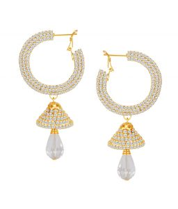 Shostopper Glittery Gold Plated Australian Diamond Earring