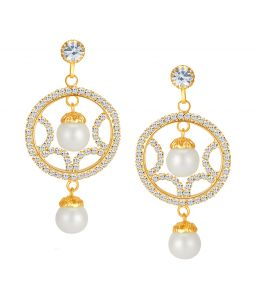 Shostopper Elegant Gold Plated Australian Diamond Earring