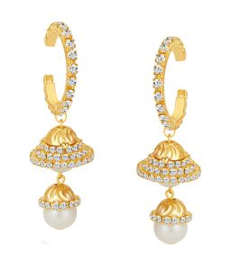 Shostopper Attractive Gold Plated Australian Diamond Earring