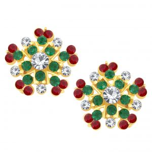 Shostopper Multicolour Attractive Glittery Gold Plated Australian Diamond Earring Sj6064en