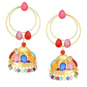 Shostopper Multi-color Jhumki Gold Plated Earring ( Code - Sj6113en )