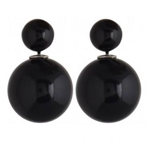 Men Style Elegant Double Sided Two Sided Big Pearl Bubbles Matt Black Alloy Piercing Stud Earring For Girl And Women (product Code - Ser0120025)