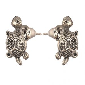 Men Style Small Turtle Or Tortoise Silver Stainless Steel Surgical Stud Earring For Men And Women (product Code -pser001006)