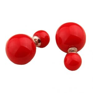 Men Style Elegant Double Sided Glossy Big Pearl Bubbles Red Alloy Round Stud Earring For Girl And Women (product Code -er01002)