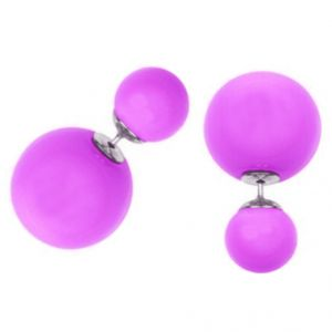 Men Style Elegant Double Sided Big Pearl Bubbles Pink Alloy Round Stud Earring For Girl And Women (product Code -er01003)