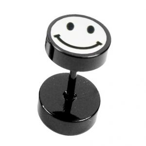 Men Style Black Dumbbell Shape Smiley Face Fashion Stud Earring - Er11003