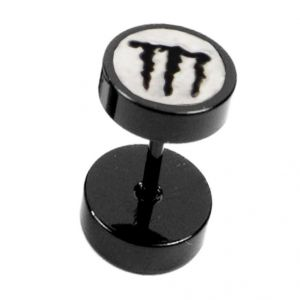 Men Style Black Dumbbell Shape Monster Fashion Stud Earring - Er11004