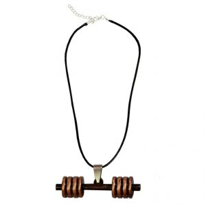 Men Style Bodybuilding Barbell Dumbbell Charm Grey Alloy And Leather Dumbbell Necklace Pendant For Men And Boys (product Code - Spn001005)