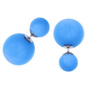 Men Style Elegant Double Sided Big Pearl Bubbles Blue Alloy Round Stud Earring For Girl And Women (product Code -er01005)