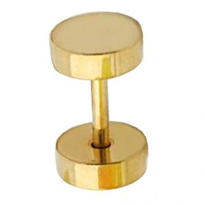 Men Style 6 MM Thickness Barbell Dumbbell Round Double Sided Gold Stainless Steel Surgical Single Stud Earring (product Code - Ser001005)