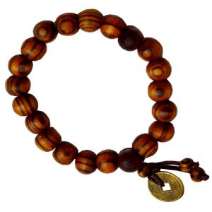Men Style Buddha Buddhist Prayer Beads Tibet Mala With Feng Shui Coin Wrist Brown Wood Round Bracelet For Men And Women (product Code - Sbr011005)