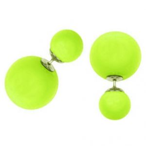 Men Style Elegant Double Sided Big Pearl Bubbles Yellow Alloy Round Stud Earring For Girl And Women (product Code -er01006)