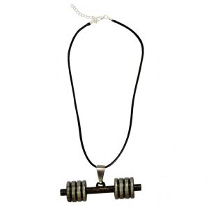 Men Style Bodybuilding Barbell Dumbbell Charm Multicolour Alloy And Leather Dumbbell Necklace Pendant For Men And Boys (product Code - Spn001006)