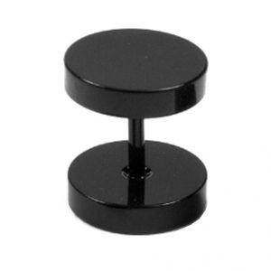 Men Style Black Dumbbell Shape Fashion Stud Earring - Er11007