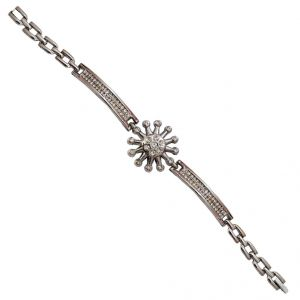 Men Style Crystal Flower Silver Alloy Circle Link Bracelet For Girl And Women (product Code -sbr001009)