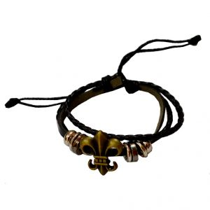 Men Style Classic Black And Brown Leather Round Bracelet For Men And Boys (product Code -sbr011014)