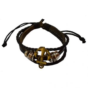 Men Style New Arrival Black And Brown Leather Round Bracelet For Men And Boys (product Code -sbr011015)