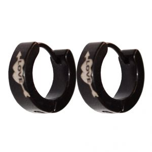 Men Style Black Heart Love Fashion Hoop Earring - Er11017