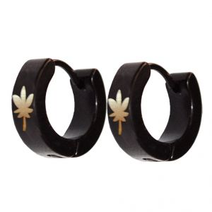 Men Style Black Leaf Shape Fashion Hoop Earring - Er11019