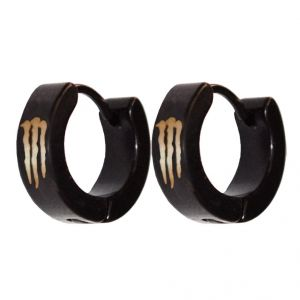 Men Style Black Monstar Inspired Hoop Earring - Er11020