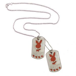Men Style Playboy Inspired Dog Tag Silver And Red Stainless Steel Square Necklace Pendant For Men And Boys (product Code -spn001021)