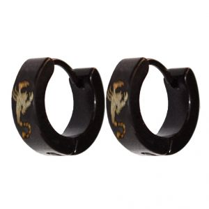 Men Style Black Scorpio Designer Fashion Hoop Earring - Er11024