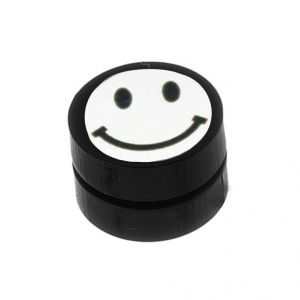Men Style Black Smiley Face Magnetic Earring - Er11027