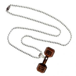 Men Style Gym Fitness Charming Accessory Silver And Brown Zinc Alloy Dumbbell Necklace Pendant For Men And Boys (product Code -spn001027)
