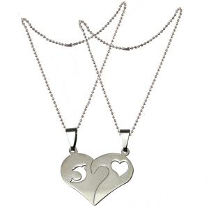 Men Style Couples Heart And Fish Silver Stainless Steel Heart Pendant (product Code - Spn011038)