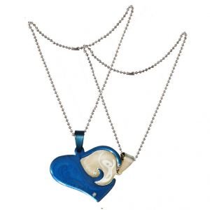 "Men Style ""i Love You"" Gift Heart Love Silver And Blue Stainless Steel Heart Pendant (product Code - Spn011039)"