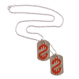 Men Style Doller Symbol Dog Tag Silver And Red Stainless Steel Square Pendant (product Code - Spn011050)