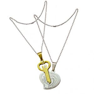 Men Style Her And His Romantic Couple I Love You Heart And Key Silver And Gold Stainless Steel Heart Necklace Pendant(product Code -spn001056)