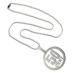 Men Style Laser Cut 50 Cent Carved Hollow Silver Stainless Steel Circle Pendant (product Code - Spn011065)