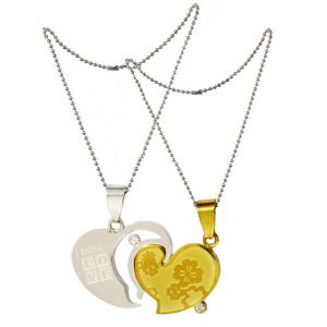 "Men Style ""i Think Love"" With Flowers Gold And Silver Stainless Steel Flowers Pendant (product Code - Spn011071)"