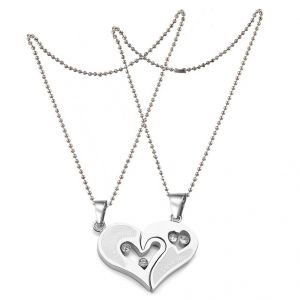 Men Style Lover Couple I Love You Heart Jewellery Silver Stainless Steel Heart Pendant (product Code - Spn011098)