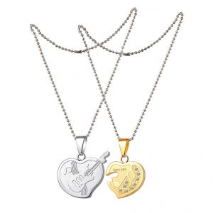 55908a3a24 Men Style Cz Heart Musical Note Music Symbol Guitar Couple Silver And Gold Stainless  Steel Heart
