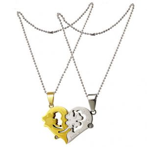 "Men Style Couple His And Her"" I Love You"" Silver And Gold Stainless Steel Heart (product Code - Spn011104)"