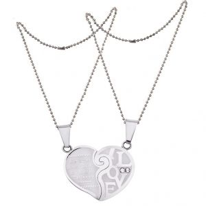 Men Style Love His And Hers Couples Gift Heart Silver Stainless Steel Heart Pendant (product Code - Spn011105)