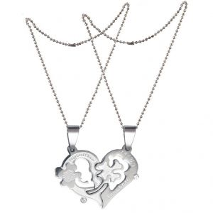 "Men Style Couple His And Her"" I Love You"" And Key Silver Stainless Steel Heart (product Code - Spn011106)"