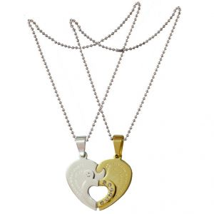 "Men Style Couple His And Her"" I Love You"" And Key Silver And Gold Stainless Steel Heart Pendant (product Code - Spn011107)"