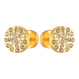 Men Style 2 PCs 8mm Dia Crystal Round Barbell Punk Gold Stainless Steel Surgical Stud Earring For Men And Women (product Code -pser001012)