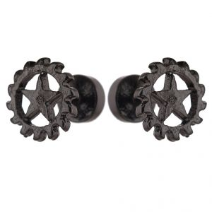 Men Style 2 PCs 8mm Dia Star Design Black Alloy Surgical Stud Earring For Men And Women (product Code -pser001015)