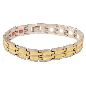 Men Style Bio Magnetic Silver And Gold Stainless Steel Round Bracelet For Men And Boys (product Code -psbr001017)